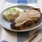 Pan Seared Strip Steak with Mustard Cream Sauce from Handle the Heat