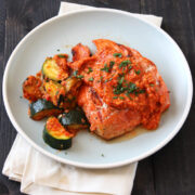 Grilled Salmon and Zucchini with Red Pepper Sauce from HandletheHeat.com