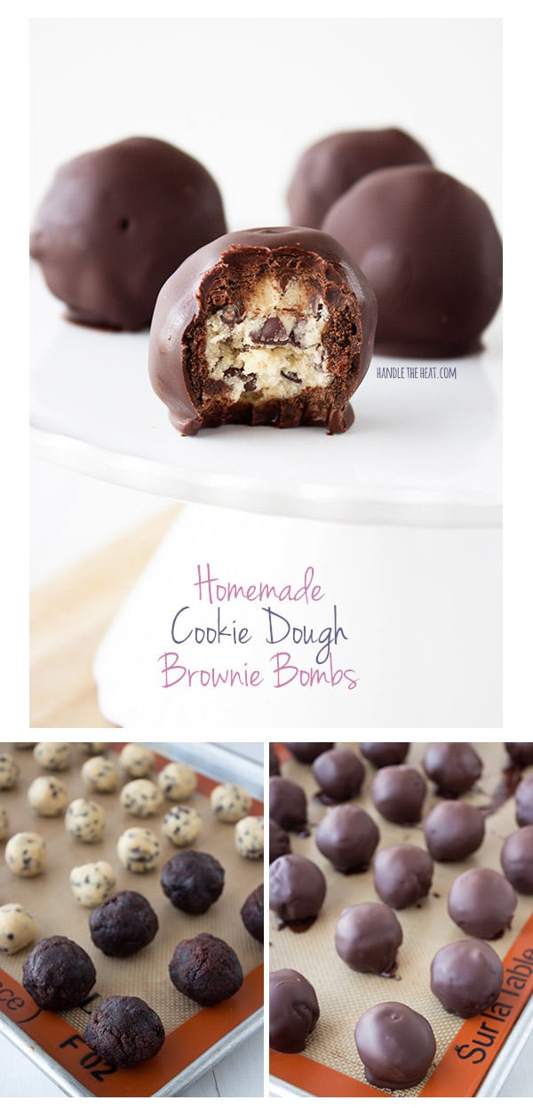 Homemade Cookie Dough Brownie Bomb