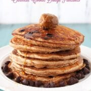 Chocolate Chip Oatmeal Cookie Pancakes - dollop with Biscoff for an outrageous breakfast!