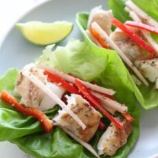 Grilled Fish Lettuce Tacos with Mojito Marinade